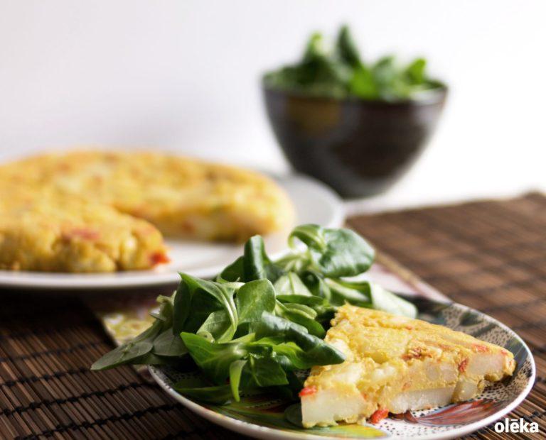 tortilla de patata con cebolla vegana