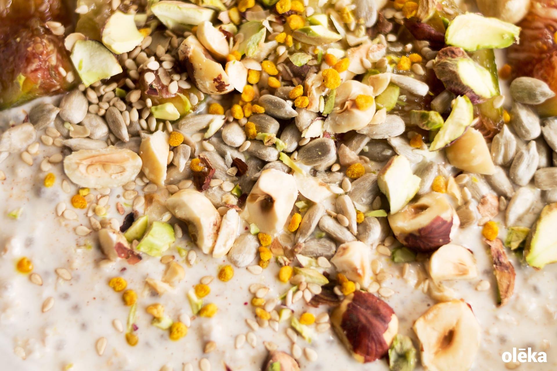 desayuno overnight oats con frutos secos