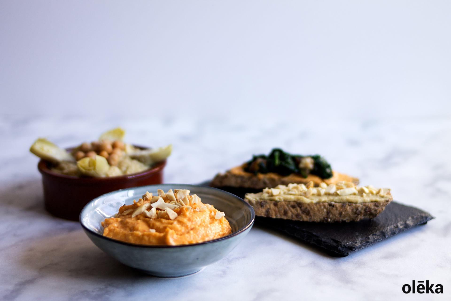 untables de boniato y hummus de alcachofa