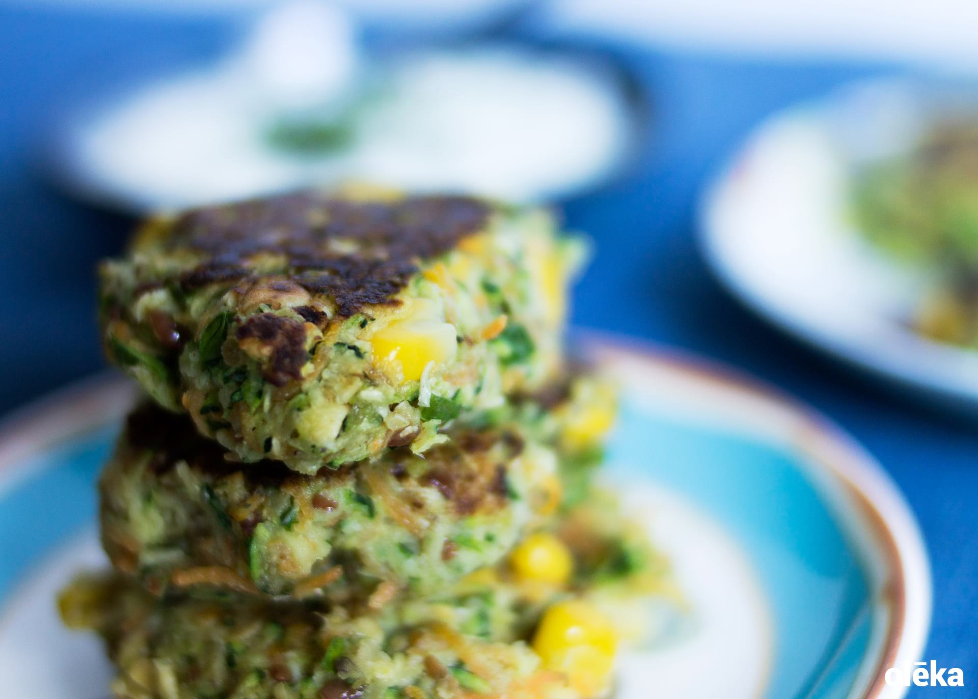 veggie fritters de calabacin,maiz y zanahoria
