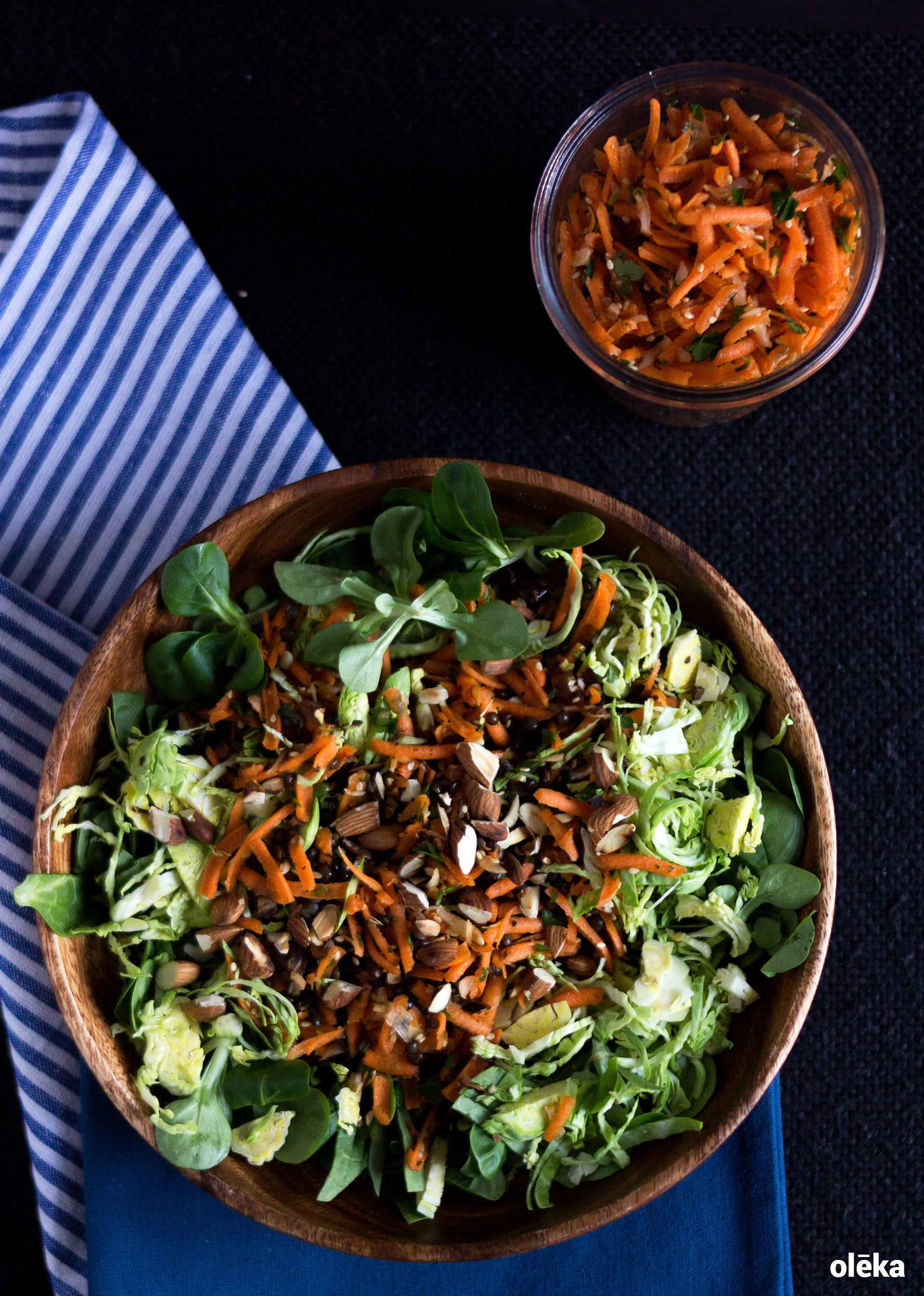 ensalada de zanahoria, almendras y lentejas